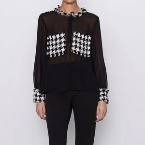 ZARA Tweed Combo Shirt